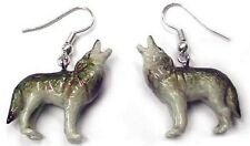 JE016 - Wolf Earrings - Surgical Steel Porcelain Dangle - little Critterz