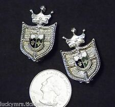 Vtg Signed CORO Clip Earrings, Heraldic Shield w/Crown, Remember the Alamo Texas
