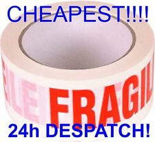 6 Rolls Of Strong fragile parcel Tape Packing Packaging 66m 48m 50mm CHEAP print