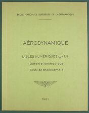 ENSA - AÉRODYNAMIQUE, TABLES NUMERIQUES (ISENTROPIQUE & ONDES DE CHOC) - 1961