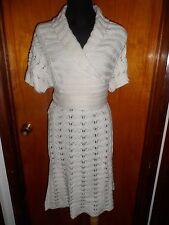 Victoria's Secret Moda International Ivry Pointelle Crochet Sweater Wrap Dress L