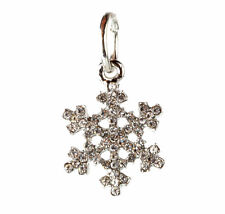 European 925 Silver Snowflake CZ Charm Beads Fit sterling Necklace Bracelet BB91