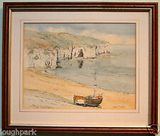 Original Watercolour Painting BEACHED BOAT ON SANDS by artist KEN PERRY framed