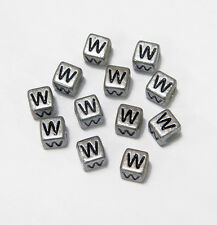 "6mm Silver Metallic Alphabet Beads Black Letter ""W"" 100pc"