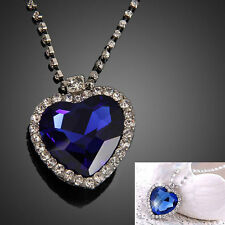 Blue Heart of the Ocean Crystal Pendant Necklace Rhinestone Bling Diamante Chain