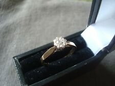 LADIES 9CT .375 YELLOW GOLD .010 ct DIAMOND RING 1.8g SIZE L 1/2 BOXED