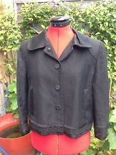 "Zara Woman linen/rayon mix black evening jacket uk 12 40 excell cond, 22"" long"