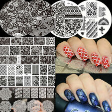 7Pcs BORN PRETTY Lace Flower Theme Nail Art Manicure Stamping Image Plates Tips