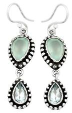 Aqua Chalcedony Blue Topaz Earrings Solid 925 Sterling Silver Jewelry IE20911