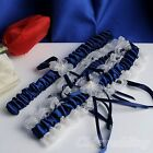 New Garter Belt Satin Lace Navy Wedding Bridal Garter w/ Pearls Floral Bowknot