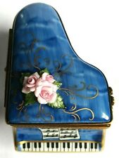 GR Hand Painted Porcelain Limoges Blue Grand Piano Trinket Box