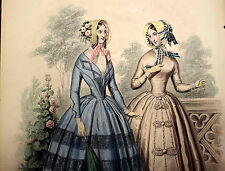 LE FOLLET 1845 Hand-Colored Fashion Plate #1258 Gowns in Blue & Beige PRINT