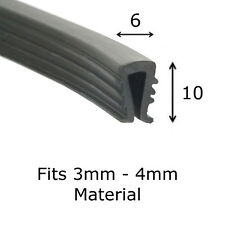 Finned Rubber U Channel Edging Trim Seal 10 mm x 6 mm