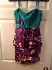 BCBG Max Azria Strapless Purple Green & Yellow Floral Print Dress, Size 0