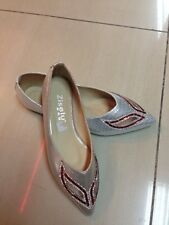 Silver Red Cut Out Flats size 5