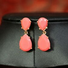 Costume Fashion Earrings Two Tear Drops Pear Coral Retro Vintage Stylish Cute D1