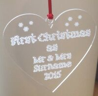 Personalised heart First 1st Christmas Tree Decoration Gift Bauble mr and mrs
