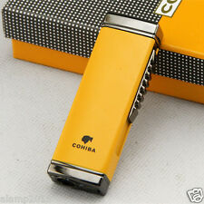 COHIBA YELLOW METAL WIND-PROOF 1 TORCH JET FLAME CIGAR CIGARETTE LIGHTER W/PUNCH