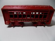 Cast Iron Railroad Passenger Train Car St Louis & Ohio River RR 44 Red w Gold