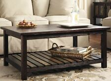 Wood Coffee Table Rustic Furniture Storage Shelf Reclaimed Finish Vintage Brown