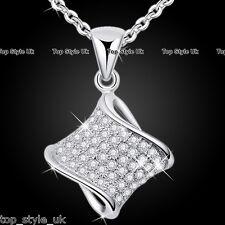 Plata esterlina 925 círculo Infinity Crystal Amor Collar Colgante Regalo Para Ella