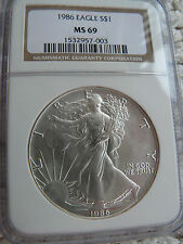 1986 Silver American Eagle NGC MS-69 First Year of Series