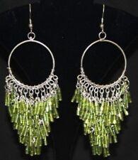 LIME GRN Beaded Boho Hippie Gypsy TRIBAL Chandelier Belly Dance Dancing Earrings