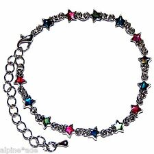 GORGEOUS FANCY PAUA ABALONE SHELL TINY STAR JEWEL TONE ANKLET D4 FAST Shipping!