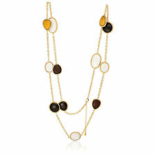 """V BY EVA MULTI-COLOR WOOD OVAL MOTHER OF PEARL GOLD TONE NECKLACE 52"""" HSN $129"""