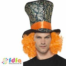 MAD HATTER TOP HAT MULTI COLOURED + ORANGE HAIR mens ladies fancy dress costume