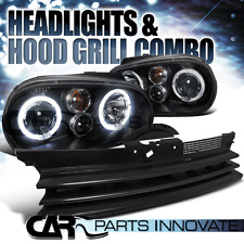 For 1999-2006 VW Golf GTI R32 Mk4 Black Halo Projector Headlights+Grille