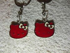 "Hello Kitty """" Red / silver tone """" Keychain Ring** Lot-of-2** Free Shipping"