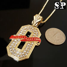 """NEW ICED OUT GOLD PT CZ STONES OVO 'O' PENDANT & 24"""" BOX CHAIN HIP HOP NECKLACE"""