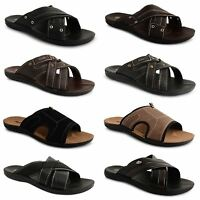 Mens Slip On Beach Shoes Summer Strappy Comfort Sandals Flip Flop Mules Size