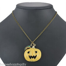 SHOP Fashion Bronze Halloween smiling Face Pumpkin Mask Necklace Unisex Jewelry