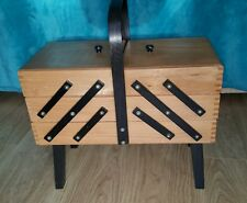 Vintage 1960's Wooden & Black Cantilever Fold Out Sewing Craft Box legs & handle