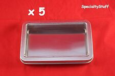 5 NEW EMPTY BLANK METAL TIN W/ CLEAR HINGED LID RECTANGULAR 7OZ CONTAINER S