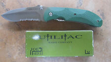 ONTARIO JOE PARDUE UTILITAC GREEN ZYTEL HANDLE SATIN SERRATED W BOX 8786 JPT-2S