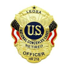 Retired Officer LEOSA Badge Medallion Concealed Carry Permit CWP National Carry