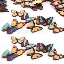 LOT 100 PCS WOODEN MIXED BUTTERFLY FLATBACK BUTTONS SEWING SCRAPBOOK CRAFTS