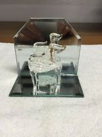 Blown Glass Dog On Mirror Base With Mirror Back