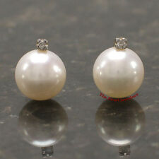 14k Yellow Gold Sparkling Diamond; Genuine White Cultured Pearl Stud Earrings