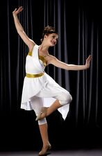 Goddess Dance Costume White and Gold Capri Unitard w/Skirt Clearance Adult 2XL