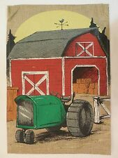 Green Tractor & Red Barn on Burlap, Sunrise at the Farm decorative Garden flag