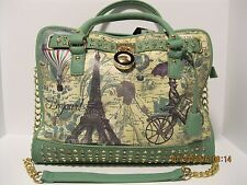 Purse Green Rhinestones and Gold Studs Paris Map Eiffel Tower Padlock  NWT L23