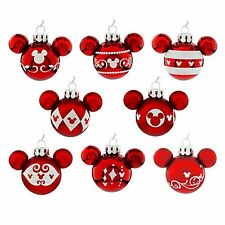Mickey Mouse Icon Red Ornament Set of 8 Christmas Holidays Disney Parks NEW