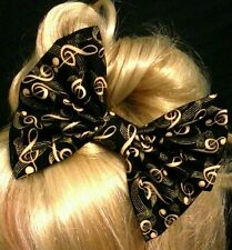 """6"""" Large Black & Gold music notes hair bow clip. Gatsby. Vintage. Pin up. Gift"""