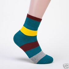Men's sport Crew Combed Cotton Ankle Casual Socks Army green stripes