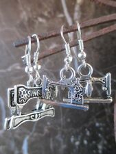 Lot of 2 Pairs-Silver Vintage Singer Sewing Machine Artisan Handcrafted Earrings