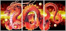 Red Dragon Spectacular Fire Flames 3 Panel Large Triptych Wall Art Print Poster